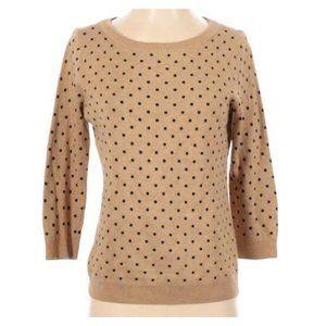 Lands' End Tan Black Polka Dot 3/4 Sleeve Sweater